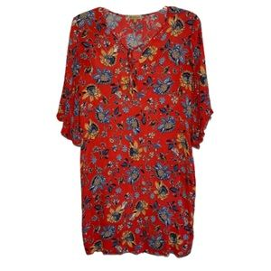 Democracy Red Floral Bell Sleeve Dress Size M